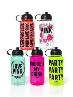 Victoria Secrets, Victoria Secret Rosa, Victoria Secret Outfits, Pink Water Bottle, Cute Water Bottles, Bottle Bottle, Glass Bottles, Pink Love, Vs Pink