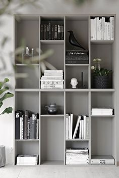 7 Marvelous Cool Ideas: Minimalist Home Inspiration Mirror white minimalist bedroom grey.Minimalist Home Inspiration Mirror minimalist bedroom apartment pillows.Minimalist Home Garden Interiors. House Design, Interior, Stylish Space, Ikea Storage, House Interior, Ikea Bookcase, Interior Inspo, Minimalist Home, Shelving