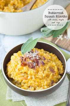 Butternut Squash Risotto with Bacon, Maple and Sage - made with arborio rice to yield the most flavorful and filling meal!
