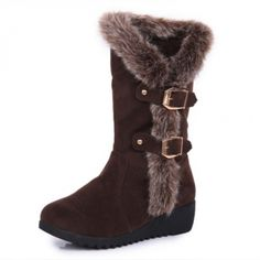 USD14.99Cheap Winter Fashion Round Toe Fur Patchwork Buckle Decorated Slip On Wedge Mid Heel Brown Suede Ankle Snow Boots