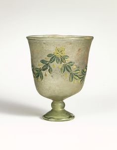 Glass goblet  Period:Late Imperial Date:4th century A.D. or later Culture:Roman Medium:Glass; blown Dimensions:H.: 3 3/8 in. (8.5 cm) Classification:Glass