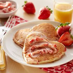 Strawberry Butter - Strawberries and Cream Pancakes from Land O'Lakes Best Brunch Recipes, Breakfast Recipes, Pancake Recipes, Brunch Foods, Favorite Recipes, Heart Shaped Pancakes, Strawberry Butter, Recipe Land, Butter Ingredients