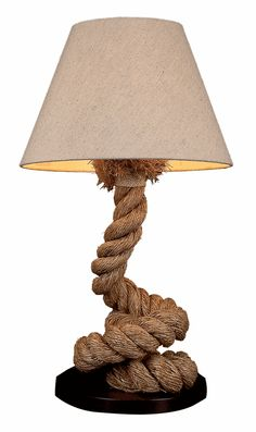 Pier Rope Table Lamp Take any lamp and wrap rope around it. I do like the curve of the lamp.