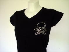 Skull Totenkopf Strass T-Shirt Hier in schwarz! Größen von S-XXL http://www.claudiocrissi.de/women-shirts/skull-totenkopf/