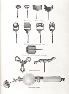 1906 An illustration shows various instruments used in vibratory massage: Round or square concussor plates, concussor rollers, balls and discs, roller with rotating cylinders and ebonite, rotating hammers and centrifugal vibrator. Vintage Advertisements, Vintage Ads, Chastity Device, Real Bodies, Vintage Medical, Quirky Gifts, Medical History, Edwardian Era, Natural Texture