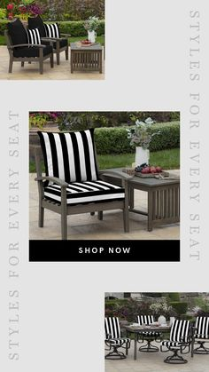 Arden Selections - Black & White Outdoor Patio Cushions, Patterned Outdoor Chair Cushions Outdoor Chair Cushions, Patio Chairs, New Patio Ideas, Outdoor Seating, Outdoor Decor, Cabana, Outdoor Living, Outdoor Furniture Sets, Black And White