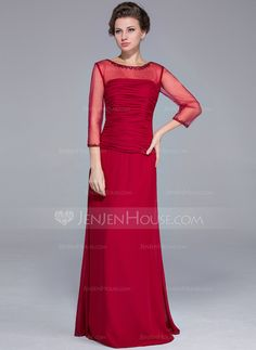 Sheath/Column Scoop Neck Floor-Length Chiffon Mother of the Bride Dress With Beading Sequins (008025700)
