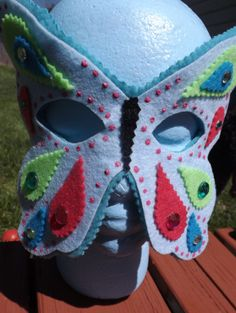 Summer Child Butterfly Face Mask  Blue by LockNessieCreations, $10.00