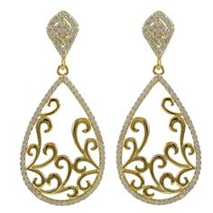 Gold Plated Sterling Silver Filigree Earrings With CZ Border from The Luxe Store