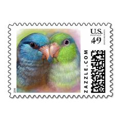 Pacific parrotlet parrot realistic painting postage stamps