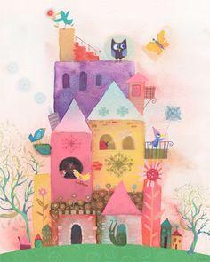 adorable birdhouse paradise art! love all the colors and cute little birds!