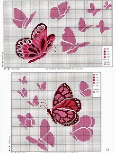 Ricamo e schemi a puntocroce gratuiti: Tante farfalle da ricamare a punto croce                                                                                                                                                     Más