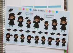 African American Girl Graduate Graduation by hellostickers on Etsy