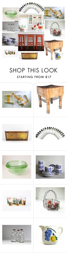 """Modern Farmhouse Kitchen"" by nachokitty ❤ liked on Polyvore featuring interior, interiors, interior design, home, home decor, interior decorating, kitchen, modern, vintage and etsy"
