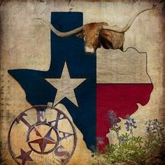 Texas by Terry Fleckney. Patriotic Texas State map with flag adorned with a Texas longhorn and bluebonnets. Given an aged appearance. #Texas