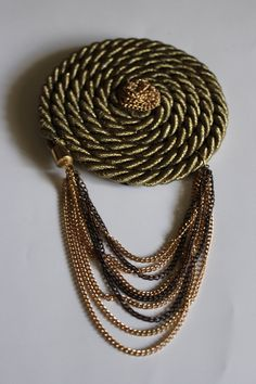 Gold Rope and Chain Epaulette and pin or brooch.