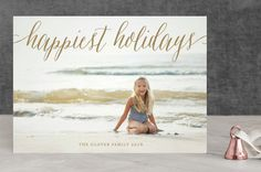 """Pure Happy"" - Full-Bleed Photo, Elegant Holiday Photo Cards in Champagne by Alston Wise."