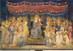 """la """"Maestà"""" di Simone Martini, nel tempio civile di Siena...Palazzo Pubblico (Sala del Mappamondo)  """"the Virgin Mary in Majesty and the Child with Saints"""" by Simone Martini, Palazzo Pubblico, SIENA"""