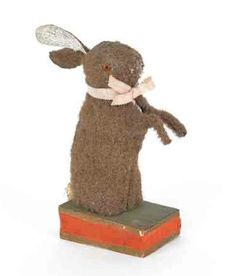 Mohair rabbit squeak toy from http://huntersandgatherersathome.blogspot.com/2012/02/we-have-our-eye-on-you.html