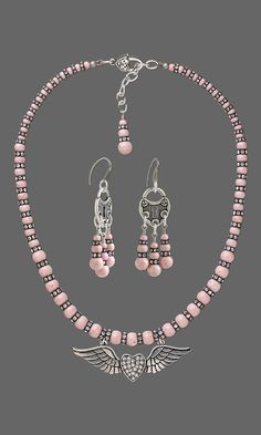 Valentine's Day Jewelry Design - Single-Strand Necklace and Earring Set with Riverstone Gemstone Beads, Swarovski Crystal and Glass Rhinestone and Antiqued Silver-Finished Steel and Pewter Focal - Fire Mountain Gems and Beads