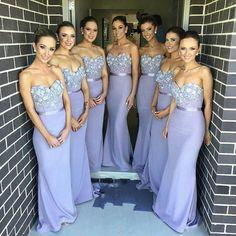 29e74cb224 2015 Elegant Lilac Long Bridesmaid Dress Mermaid Sweetheart Appliques  Beaded Maid of Honor Dress Vestido Para Madrinha De Casamento 2016
