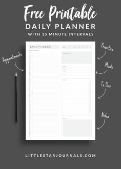 A free daily planner printable with 15 minute intervals to help you plan your day or appointments. Also includes a meal planner, to do list, priorities list and a notes section. With inspiring bright colours. To Do Planner, Daily Planner Pages, School Planner, Free Planner, Free Daily Planner Printables, Daily Work Planner, 2015 Planner, Planner Diy, Passion Planner