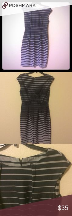 Two-toned Dress Striped cap sleeve dress. Knee-length. Loops for belt. Good condition; only worn twice. Connected Apparel Dresses Midi