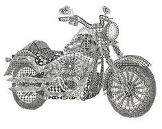 motorcycle Abstract Doodle Zentangle Coloring pages colouring adult detailed advanced printable Kleuren voor volwassenen coloriage pour adulte anti-stress american hippy
