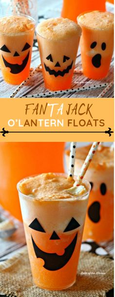 Fanta Jack O' Lantern Floats - how fun are these for Hallowe.- Fanta Jack O' Lantern Floats – how fun are these for Halloween? Part… Fanta Jack O' Lantern Floats – how fun are these for Halloween? Party Fanta Jack O'Lantern Floats - Halloween Desserts, Comida De Halloween Ideas, Pasteles Halloween, Hallowen Food, Halloween Food For Party, Halloween Cupcakes, Diy Halloween Treats, Halloween With Kids, Fun Halloween Decorations