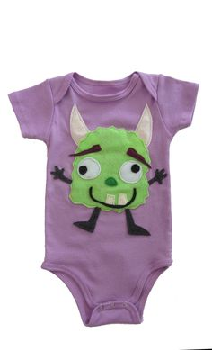 Manny the Monster: Hand Stitched Organic Cotton Mushpa + Mensa Designer Onesie With Custom EcoFi Felt Appliques Applique Onesie, Felt Applique, My Daughter Birthday, To My Daughter, Monster Hands, Recycle Plastic Bottles, Hand Stitching, Appliques, Really Cool Stuff