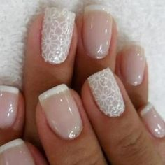 Delightfully Cool Ideas For Wedding Nails Pretty French nails with detailed design.Pretty French nails with detailed design. Bridal Nails Designs, Wedding Nails Design, Wedding Designs, Wedding Nails For Bride, Bride Nails, Wedding Ring, Diy Wedding, Wedding Manicure, Jamberry Wedding