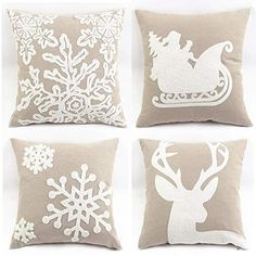 WOMHOPE 4 Pcs 18 Canvas Cotton Embroidery Throw Covers Christmas Throw Covers Square Throw Pillow Covers Cushion Cover Pillowcase for SofaBed B Set of 4 Griege >>> You can get additional details at the image link. Christmas Cover, Christmas Pillow Covers, Christmas Fun, Beautiful Christmas, Xmas, Christmas Decorations, Diy Pillow Covers, Diy Pillows, Throw Pillows
