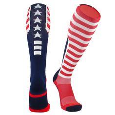 TCK® Elite USA Flag Patriot Red White Blue Basketball Football Knee High Socks NEW