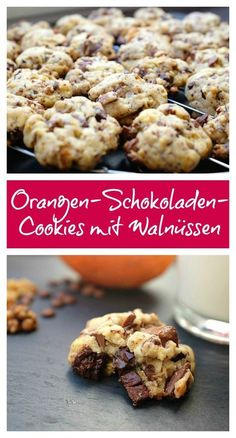 Orange-chocolate cookies with walnuts - quick recipes from my kitchen - My absolute favorite cookie: the combination of chocolate and orange is simply unbeatable. Chocolate Orange, No Bake Cookies, Cake Cookies, Quick Recipes, Sweet Recipes, Brownies Cacao, Tartiflette Recipe, Walnut Cookies, Grilling Gifts