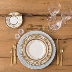 Dusty Blue Lace Chargers + Crown Gold Collection Vintage China + Chateau Flatware + Gold Rimmed Stemware + Antique Crystal Salt Cellars | Casa de Perrin Design Presentation