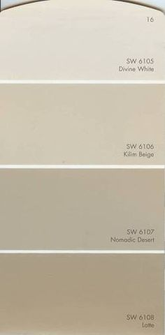 Image detail for -. base colors sw 6106 kilim beige sw 6107 nomadic desert sw 6108 latte Kilim beige on our ceiling with latte on walls! Beige Paint Colors, Beige Color Palette, Room Paint Colors, Exterior Paint Colors, Paint Colors For Home, House Colors, Neutral Colors, Bright Colors, Kilim Beige Sherwin Williams