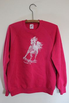 bright pink oversized vintage pullover horse by bubblemars on Etsy