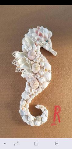 Read the full title Seashell Seahorse Shell Seahorse - Seahorse Shell Art - Beach Decor - Seashell Seahorse Wall Hanging - Coastal Decor - Nautical Decor