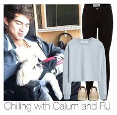 """""""Chilling with Calum and RJ"""" by fuckingbandss ❤ liked on Polyvore featuring New Look, MANGO, 5sos, calumhood, calum and rj"""