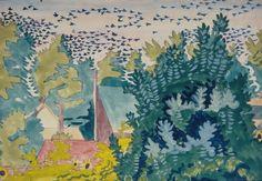 Flight Of Blackbirds At Dawn > Collection > Burchfield Penney Art Center