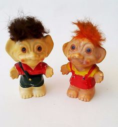 Vintage PAIR OF SALT AND PEPPER SHAKERS -MADE IN JAPAN BY NORCREST Troll Dolls