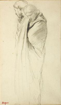 Edgar Degas, Deux femmes dont une drapée pleurant, Crayon noir, © MuMa Le Havre / Charles Maslard