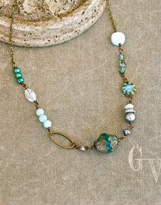 Blue bohemian gemstone opal beaded necklace. by tiedupmemories