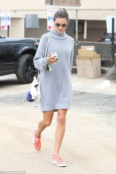 Cozy up in grey with Alessandra's Acne dress #DailyMail Click 'Visit' to buy now