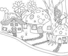 Beyond the Fringe: Mushroomville, Digi Stamp freebies House Colouring Pages, Coloring Book Pages, Coloring Sheets, Digi Stamps Free, Mushroom Art, Mushroom Drawing, Drawing For Kids, Embroidery Designs, Stuffed Mushrooms