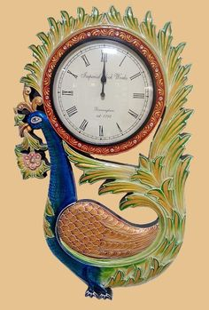 Multi Coloured Wooden Handicrafted Peacock Clock. [₹6,000]