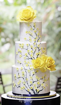 Peony roses and forsythias wedding cake by Cakes! by Ying