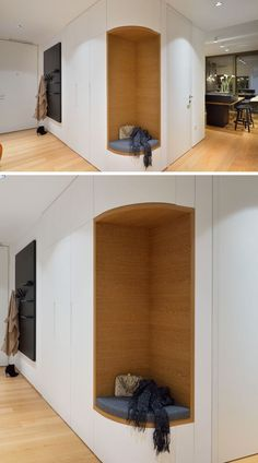 Design Detail – Include A Built-In Seat In Your Entryway In this modern apartment, the designers removed a section of corner cabinets in the entryway to create a small bench seat where you can put your shoes on. Hall Wardrobe, Wardrobe Design Bedroom, Apartment Entryway, Apartment Design, Small Bench Seat, Placard Design, Halls, Booth Seating, Banquette Seating