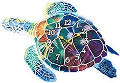 Wall Clock Wood Turtle Decorative 15 Inch Beach Theme Perfect Decor for Kitchen Bathroom Office Rustic Battery Operated Clocks Great Nautical Theme for Bedroom Ocean Decoration Ticking Tropical Best Wall Clocks, Rustic Wall Clocks, Wood Turtle, Ocean Turtle, Inch Beach, Beach Bedroom Decor, Wall Clock Online, Tropical Decor, Nautical Theme