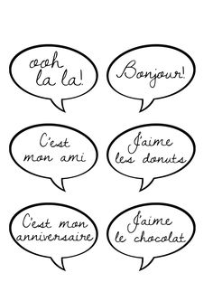 French speech balloons for photo booth - Free printable (Print/enlarge to Fiesta Party Decorations, Engagement Party Decorations, Paris Birthday Parties, Birthday Party Themes, 80 Birthday, Birthday Ideas, French Themed Parties, Goodbye Party, Parisian Party